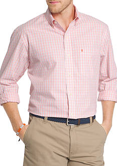 IZOD Essential Poplin Mini Check Button Front Shirt