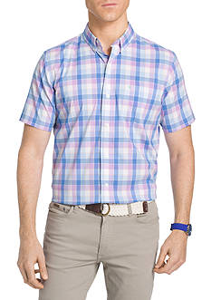 IZOD Striped Short Sleeve Box Plaid Shirt
