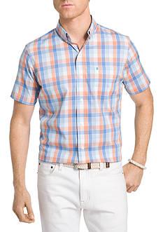 IZOD Striped Short Sleeve Box Plaid Shirt