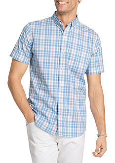 IZOD Medium Check Short Sleeve Plaid Shirt