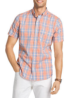 IZOD Large Stripe Short Sleeve Plaid Shirt