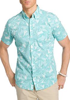 IZOD Advantage Leaf Print Short Sleeve Shirt