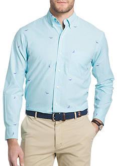 IZOD Long Sleeve Whale Print Schiffli Shirt