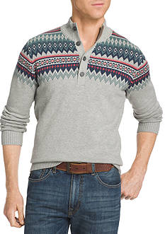 IZOD Big & Tall Mock Neck Fair Isle Sweater