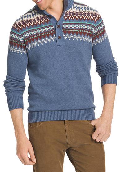 Izod big tall mock neck fair isle sweater belk for Big and tall mock turtleneck shirt