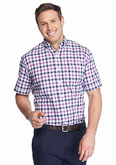 IZOD Big & Tall Short Sleeve Relaxed Classics Dockside Chambray Gingham Shirt