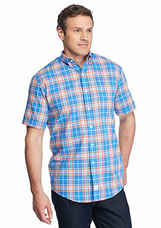 IZOD Big & Tall Short Sleeve Relaxed Classics Dockside Chambray Plaid Shirt