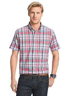 IZOD Big & Tall Short Sleeve Dockside Chambray Plaid Shirt