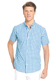 IZOD Big & Tall Short Sleeve Plaid Non-Iron Button Down Shirt