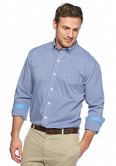 IZOD Big & Tall Long Sleeve Iconic Stretch Gingham Woven Shirt