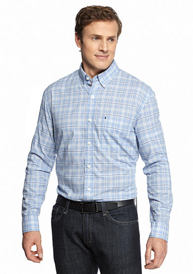 Izod big tall long sleeve plaid button down shirt for Izod button down shirts