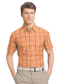 IZOD Big & Tall Short Sleeve Windowpane Print Woven Shirt