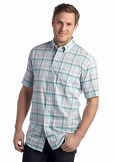 IZOD Big & Tall Short Sleeve Seaport Poplin Plaid Shirt