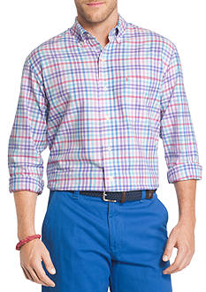 IZOD Big & Tall Long Sleeve Oxford Plaid Shirt