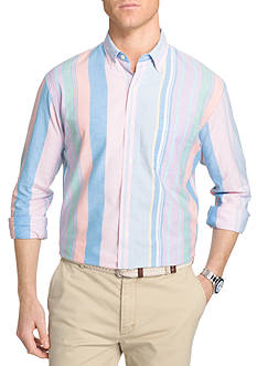 IZOD Big & Tall Multi Stripe Long Sleeve Oxford Shirt