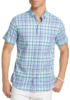 IZOD Big & Tall Dockside Chambray Plaid Shirt