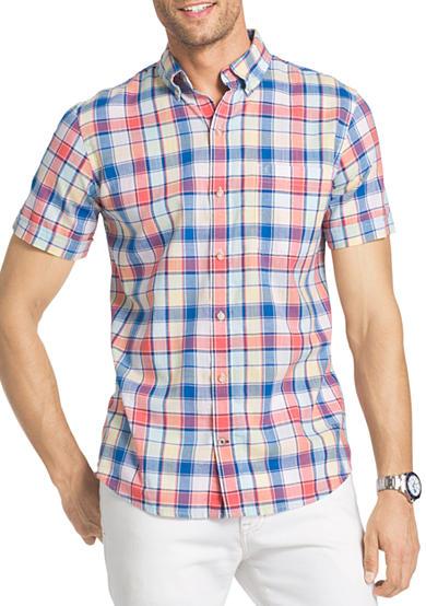 Izod big tall short sleeve chambray plaid shirt belk for Izod big and tall shirts