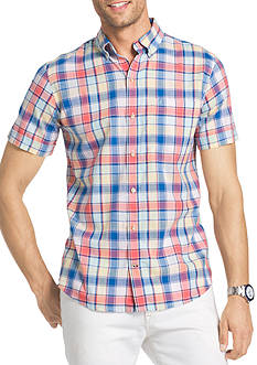 IZOD Big & Tall Short Sleeve Chambray Plaid Shirt