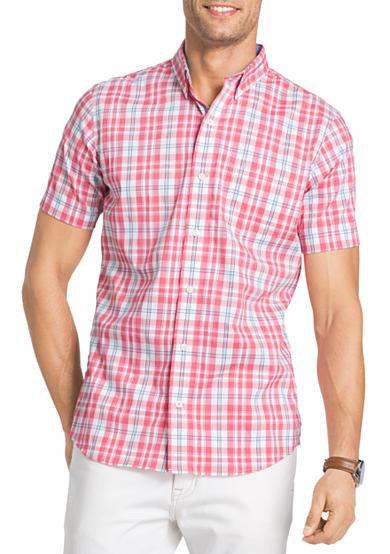 Izod big tall new stretch check short sleeve plaid shirt for Izod big and tall shirts