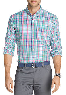 IZOD Big & Tall Long Sleeve Breeze Plaid Button Down