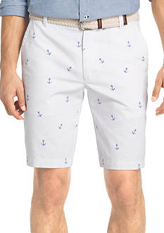 IZOD Big and Tall Flat Front Anchor Print Shorts