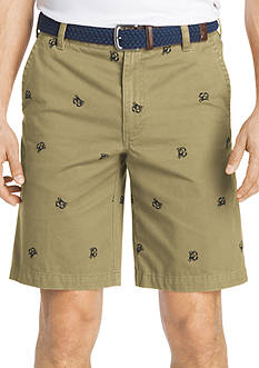 IZOD Big & Tall Flat-Front Schliffli Embroidered Crab Shorts