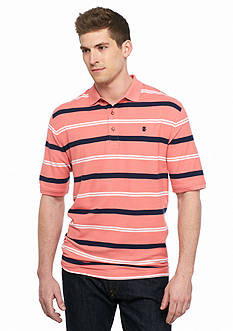 IZOD Big & Tall Short Sleeve Stripe Advantage Performane Pique Polo Shirt