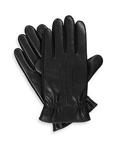 Totes Isotoner Stretch Faux Leather Gathered Wrist Gloves