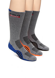 Polo Ralph Lauren Racing Stripe Sole Contrast Crew Socks - 3 Pack