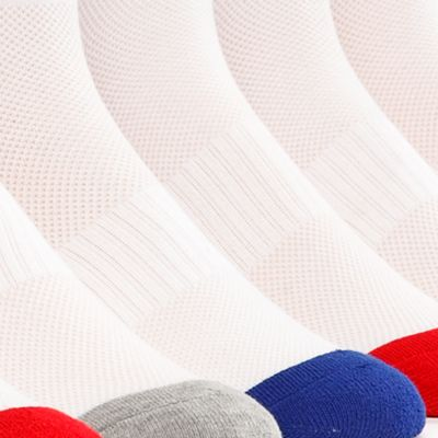 Young Mens Activewear: Socks: White / Assorted Polo Ralph Lauren 6-Pack Technical Sport Quarter Crew Socks