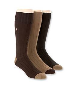Polo Ralph Lauren Rib Contrast Toe Crew Socks - 3 Pack