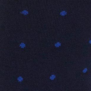 Black Designer Socks for Men: Navy/Royal Polo Ralph Lauren Polo Player Dots Trouser Socks - 2 Pack