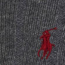 Black Designer Socks for Men: Charcoal Heather Polo Ralph Lauren Trouser Crew Socks - Single Pair
