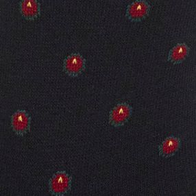 Black Designer Socks for Men: Black Polo Ralph Lauren Dotted Foulard Crew Socks - 2 Pack