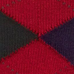 Designer Socks for Men: Cardinal Red Polo Ralph Lauren Argyle Crew Socks - Single Pair