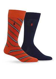 Polo Ralph Lauren Diagonal Stripe Trouser Socks 2-Pack