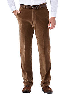 Haggar Classic-Fit Stretch Corduroy Flat-Front Pants