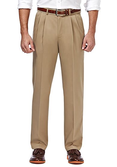 Haggar® Premium Stretch No Iron Khaki Classic Fit Pleated Pants