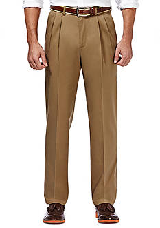 Haggar Premium Stretch No Iron Khaki Classic Fit Pleated Pants
