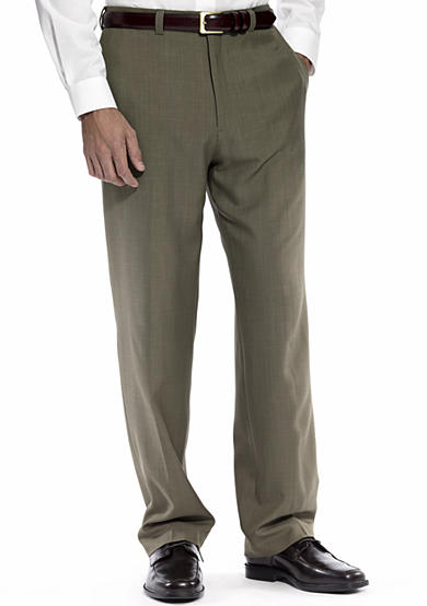 Haggar® eCLo™ Stria Classic Fit, Flat Front, Expandable Waist Dress Pants