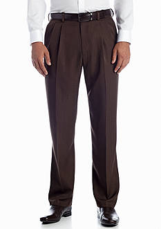 Haggar® Textured Stria Classic-Fit  Pleated Non-Iron Pants