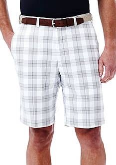 Haggar 10-in. Flat Front Cool 18 Plaid Performance Shorts