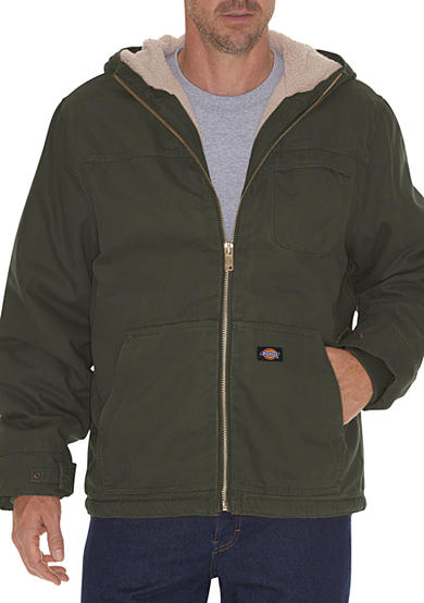Dickies® Big & Tall Sanded Duck Sherpa Lined Hooded Jacket