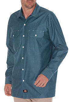 Dickies Long Sleeve Button-Down Denim Shirt