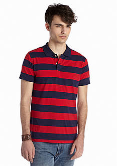 Red Camel® Stripe Rib Polo Shirt