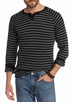 Red Camel Long Sleeve Striped Thermal Split Neck Shirt