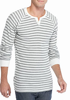 Red Camel Long Sleeve Striped Thermal Split Neck Shirt