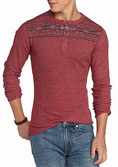 Red Camel Long Sleeve Fair Isle Thermal Henley Shirt