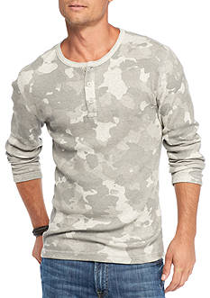 Red Camel Camo Henley Thermal T-Shirt
