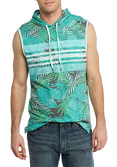 Red Camel® Sleeveless Palm Print Muscle Hoodie